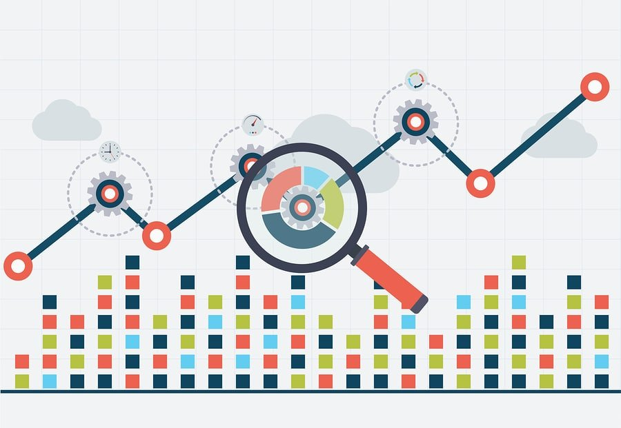 SEO optimization and business web analytics. Chart with graph up
