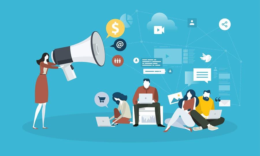 illustration of content marketing concept.