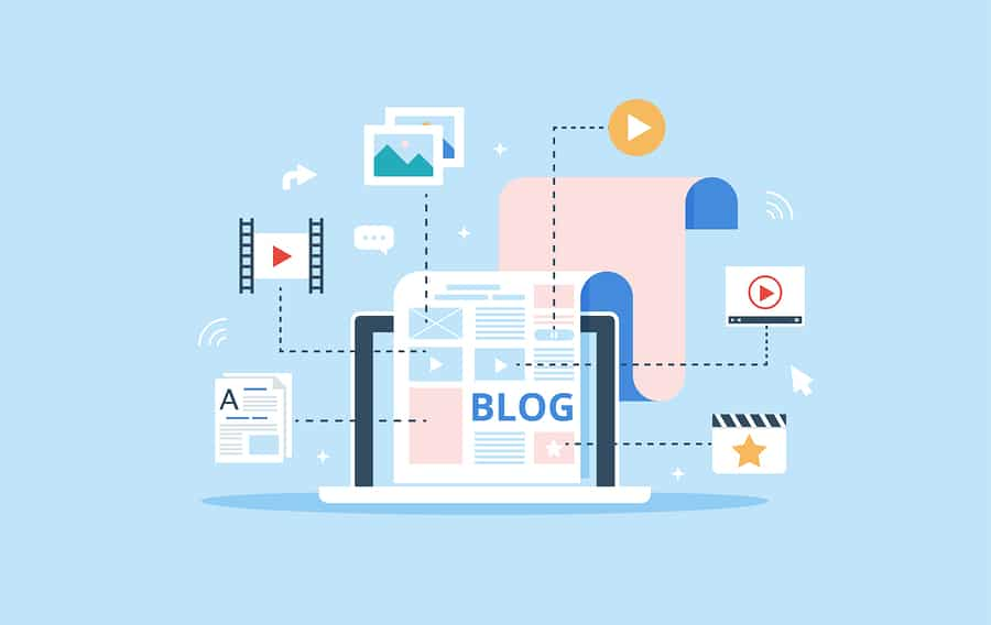 Illustration of blog content writing