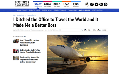 Business News Daily: I Ditched the Office to Travel the World and It Made Me a Better Boss