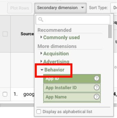 """A screenshot from Google Analytics with a red box showing how to find the dropdown menu under """"Behavior."""""""