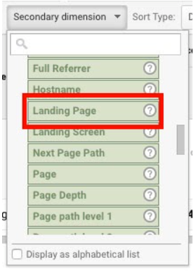 """A screenshot from Google Analytics with a red box pointing out """"Landing Page"""" under """"Behavior."""""""
