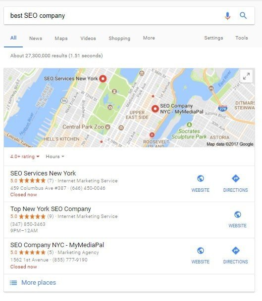 A map of SEO companies in NYC