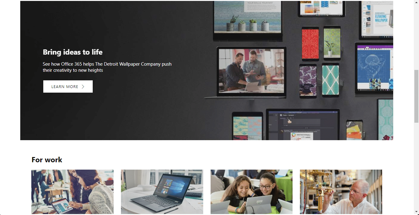 second scroll down on Microsoft's homepage.