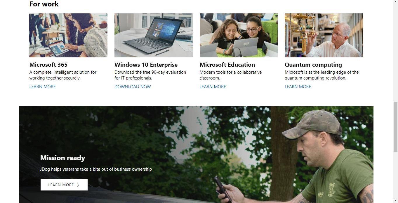 third scroll down Microsoft's homepage.
