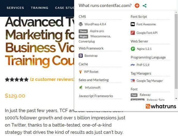 A screenshot of the Google Chrome extension WhatRuns displaying info about contentfac.com