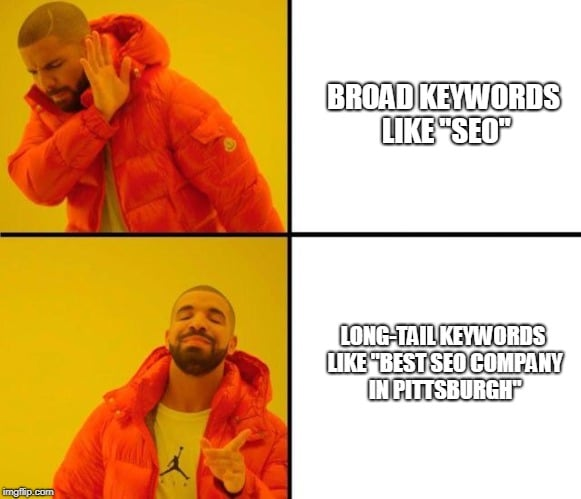 """Drake demonstrates that long-tail keywords like """"Best SEO Company in Pittsburgh"""" are better to target than broad keywords like """"SEO,"""" and we agree."""
