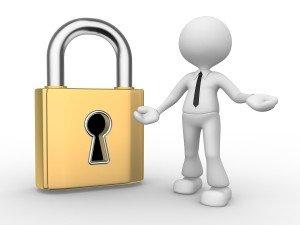 illustration of big lock key person