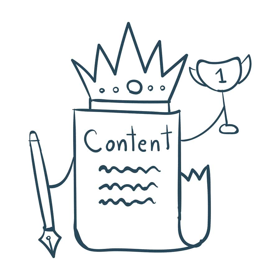 """A cartoon illustration of a paper labeled """"Content"""" wearing a crown and holding a trophy, because content is queen!"""