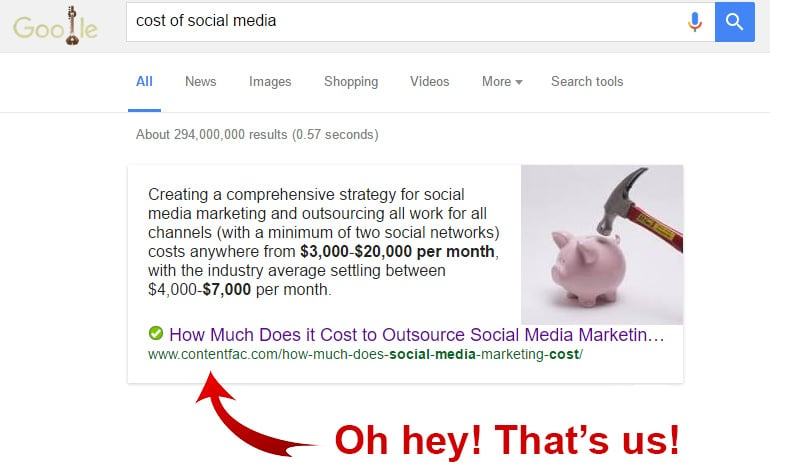 Content Optimized for Google Featured Snippet Box