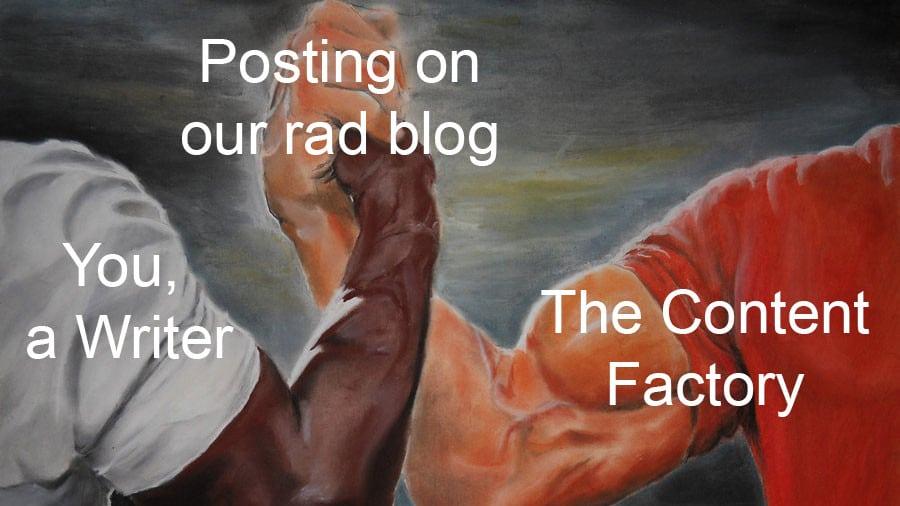 the raddest content marketing handshake you've ever imagined
