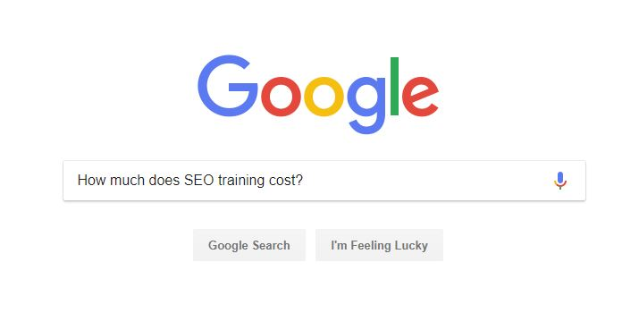 screenshot of a Google search query that says how much does seo training cost