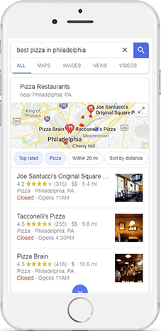 """Local search results for the keyword """"best pizza in philadelphia"""""""
