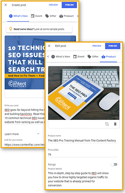 """Screenshots of two Google My Business posts: one """"What's New"""" and one Product post"""