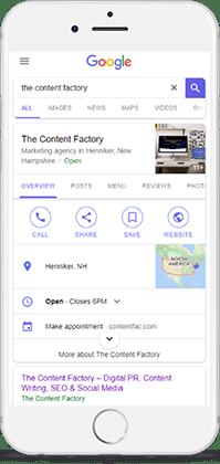 Mobile screenshot of TCF's Google My Business listing