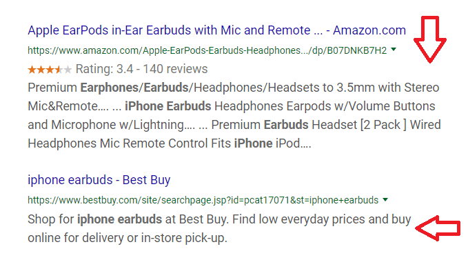 What product pages look like in search engine results pages