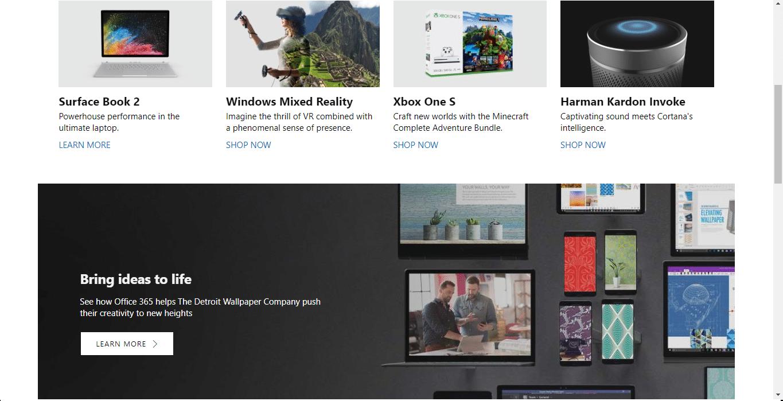 scroll down on Microsoft's homepage.