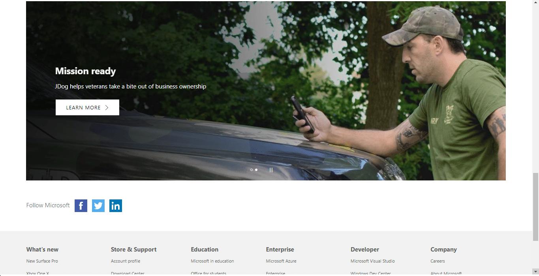 Microsoft homepage scrolling.