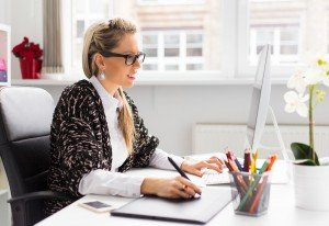 Outsource your blog content writing woman writing