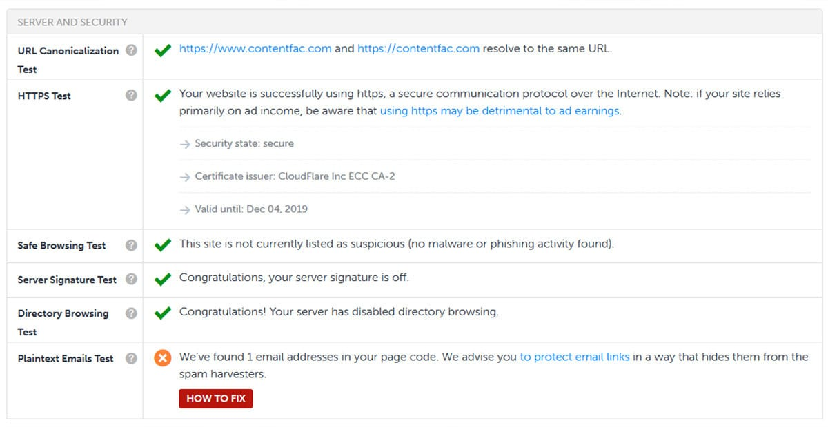 site SEO diagnostic tool