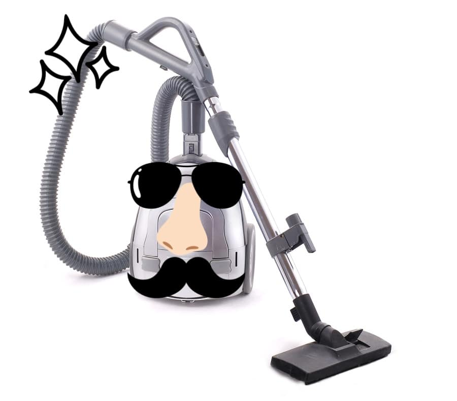 An illustration of a vacuum cleaner wearing sunglasses, a nose, and a mustache